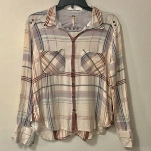 Free People Cropped Button Down Top
